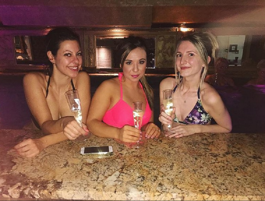girls night in pool party at Signature Living